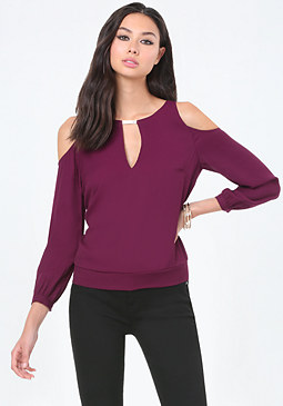 bebe Keyhole Cold Shoulder Top