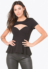 bebe Sweetheart Neck Peplum Top