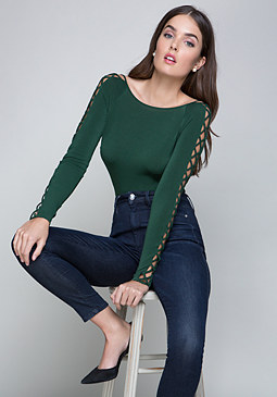 bebe Lace Up Sleeve Scoop Top