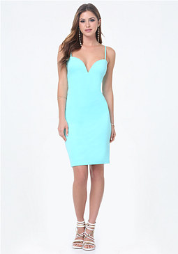 bebe Scuba Deep V-Neck Dress
