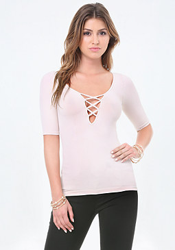 bebe Crisscross Plunge Neck Top