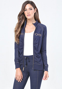 bebe Logo Denim Terry Jacket
