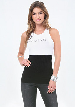 bebe Logo Cable Sweater Tank