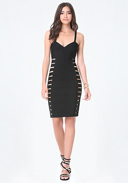 bebe Side Cutout Bandage Dress
