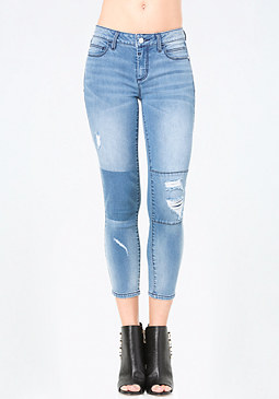 bebe Patched Crop Jeans