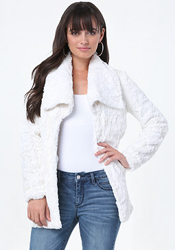 bebe Lightweight Faux Fur Jacket