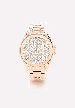 bebe Crystal Face Oversize Watch