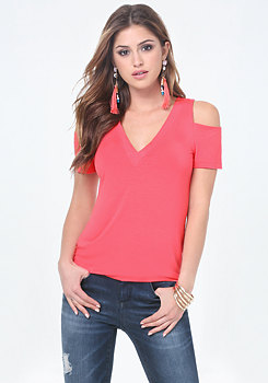 bebe Jersey Cold Shoulder Tee