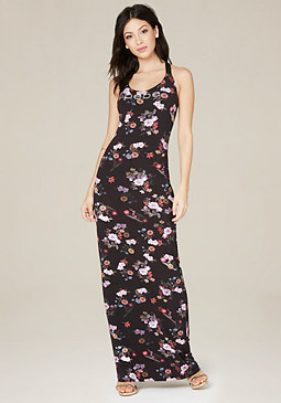 Logo Print Maxi Dress at bebe