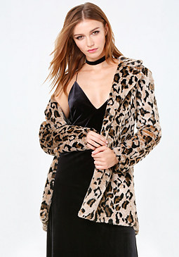 bebe Lazy Leopard Coat