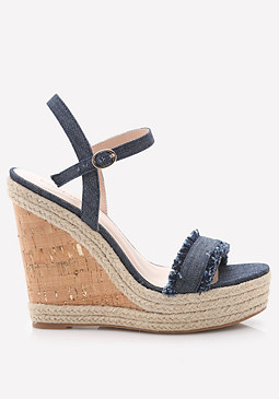 bebe Denim Espadrille Sandals