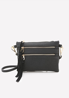 Solid Zip Crossbody Bag