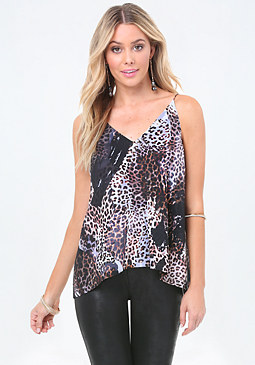 bebe Leopard Print Open Back Top