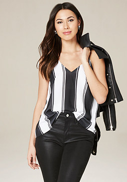 Striped Open Back Top at bebe