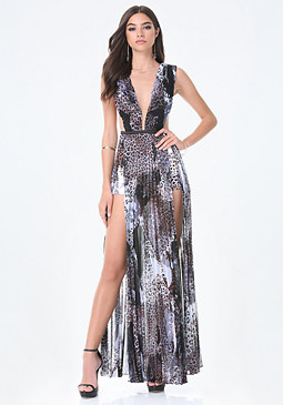Petite Print Slit Gown at bebe