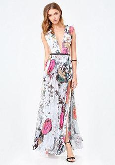 Petite Print Slit Gown