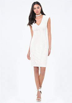 Petite Textured Midi Dress