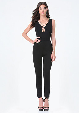 bebe Petite Lace Up Catsuit