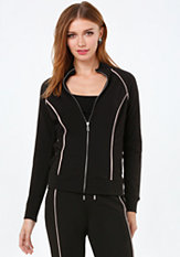 bebe Logo Contrast Piping Jacket