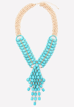 bebe Turquoise Drop Necklace