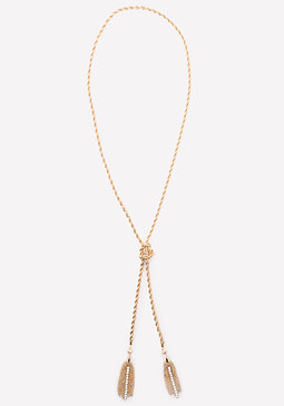 bebe Tassel Tie Lariat Necklace