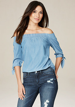 bebe Ameia Chambray Shoulder Top