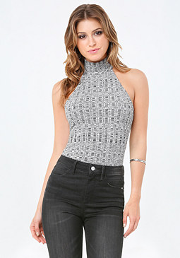 bebe Variegated Rib Knit Top