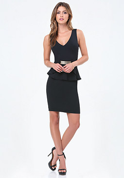 bebe Mesh Plate Peplum Dress