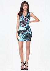bebe Print Scuba V-Neck Dress