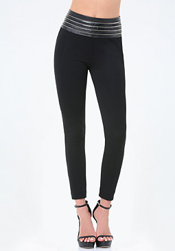 bebe Petite Zip High Leggings