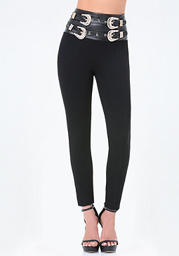 bebe Petite Double Belt Leggings