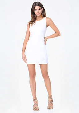 bebe Twisted Mesh Neck Dress