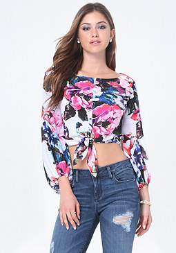 bebe Blouson Sleeve Crop Top