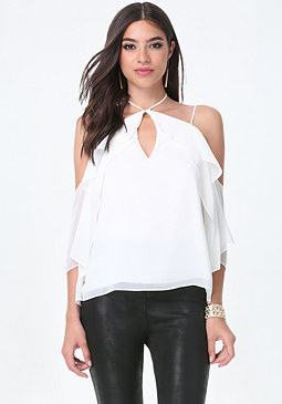 bebe Dreamy Cold Shoulder Top