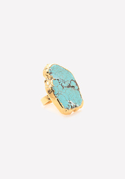 bebe Gold Plated Turquoise Ring