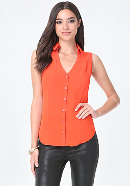 bebe Button Up Sleeveless Shirt