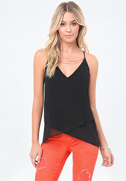 bebe Chain Neck Crisscross Top