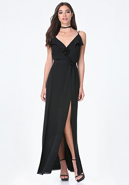 bebe Ruffle Double Slit Gown