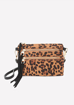 bebe Faux Leopard Crossbody Bag