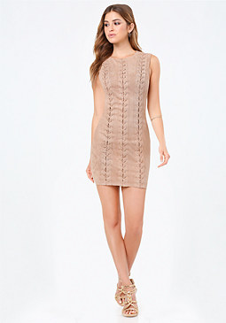 bebe Faux Suede Lace Up Dress