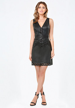 bebe Talia Faux Leather Dress