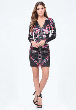 bebe Print Long Sleeve Dress