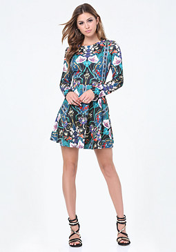 bebe Print Jacquard Flared Dress