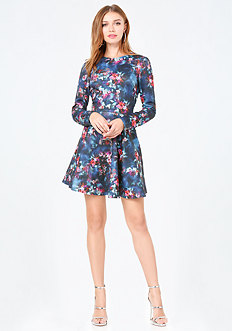 Print Jacquard Flared Dress