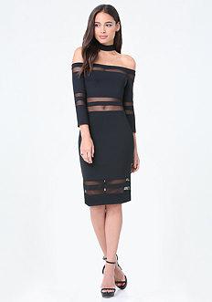 Mesh Inset Choker Dress