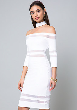 bebe Mesh Inset Choker Dress
