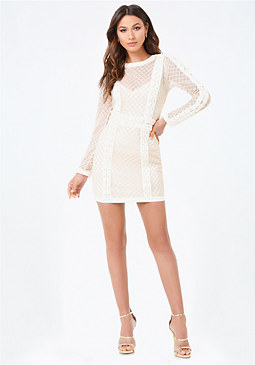 bebe Mesh Lace Up Dress