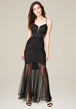 bebe Andie Striped Lace Gown