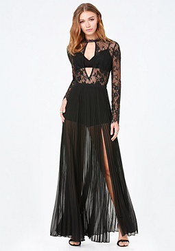 bebe Karen Pleated Lace Gown