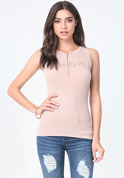 bebe Logo Zip Sweater Tank